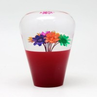 Suichuuka Red/Clear Dried Flowers JDM 60mm Shift Gear Knob 12x1.25 with 10x1.25 adapter included