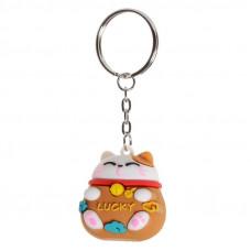 Maneki Neko JDM Lucky Cat 3D PVC Keyring - Brown