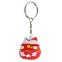 Maneki Neko JDM Lucky Cat 3D PVC Keyring - Red