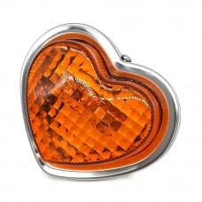 JDM 80mm Orange Heart Shaped Side Marker Indicator Lamps - 24V5W