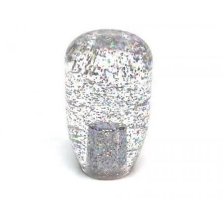 JDM 90mm Clear Silver/Rainbow Glitter 12x1.25 Shift Knob